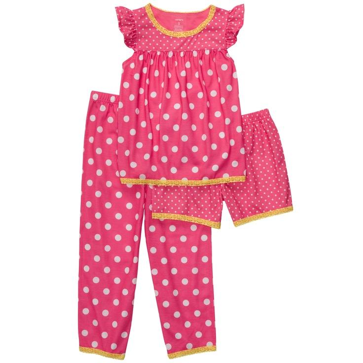 3-Piece Jersey Pjs   Kid Girl Pajamas