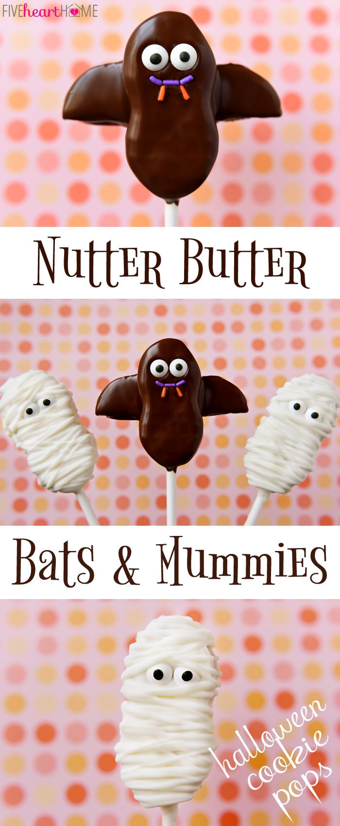 How To Make Halloween Cookie Pops ~ Nutter Butter Bats and Mummies