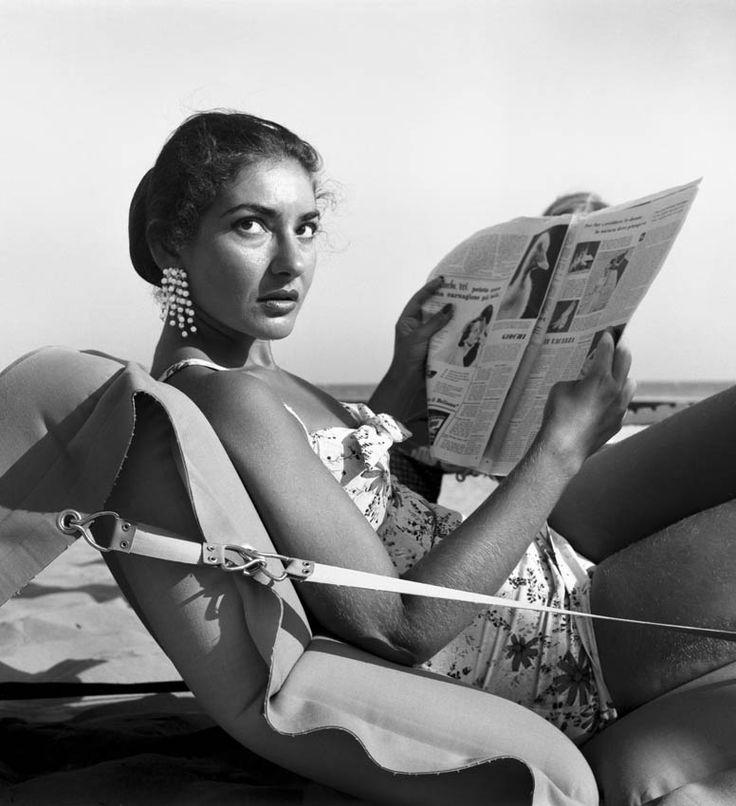 Maria Callas sunbathing on the beach in Venice, 1950