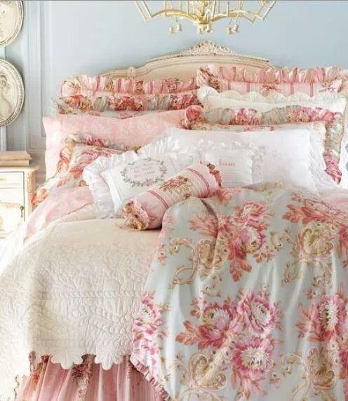 marie antoinette-esque, light blue walls, keep creme furni, pink frilly sheets, gold wall decos