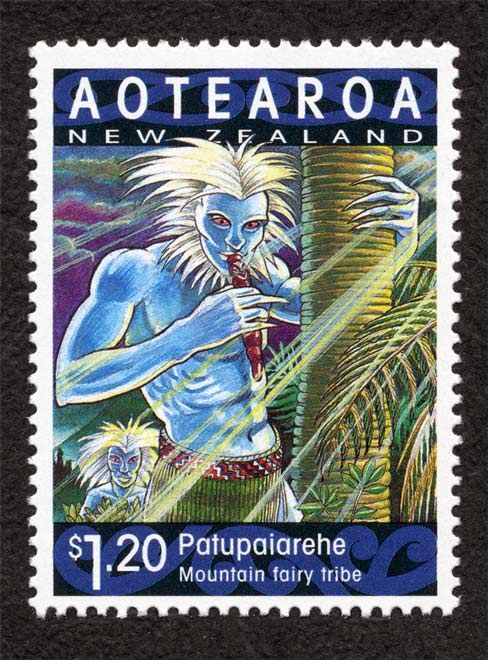Patupaiarehe stamp. Read a story about the Fairy people of the Waitakere Ranges at http://www.aucklandnz.com/discover/the-story-of-auckland