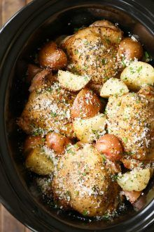 Slow Cooker Garlic Parmesan Chicken and Potatoes