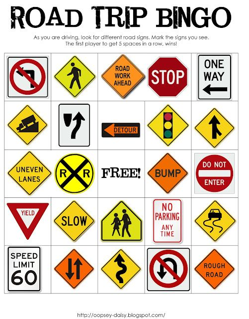 Three versions of Road Trip Bingo....signs, vehicle colors and vehicles (9 cell bingo with construction vehicles and tractor). Includes links to print the boards.