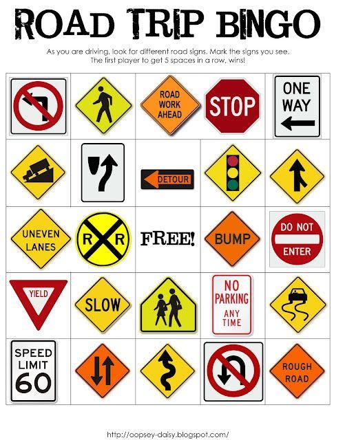 Road Trip bingo.  Download printable games. Good for  life skills too