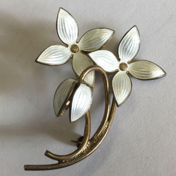 Vintage Solid Silver Leaf White Enamel Brooch Probably Ivar Holth Norway 4.5cm