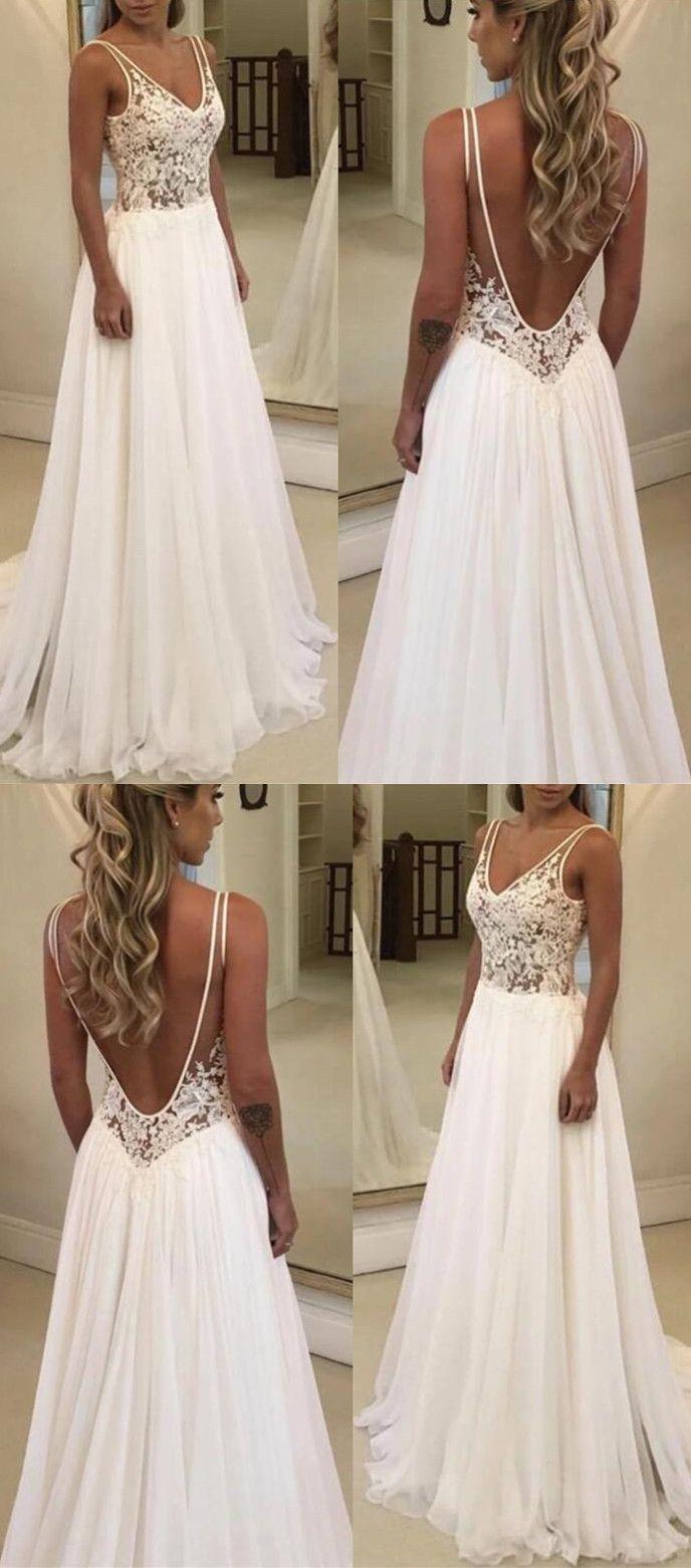 Boho Lace Bodice Chiffon V Neck Wedding Beach Dresses Wedding