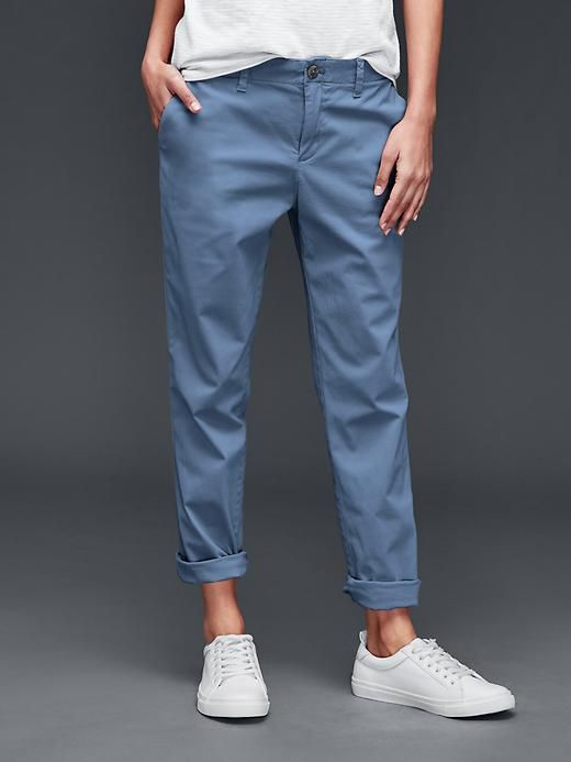 """Girlfriend chino - Our latest and greatest. <br>Garment dyed for one-of-a-kind color and softness.<br><br>These pants were made by women that participate in <a href=""""http://www.gap.com/pace""""> P.A.C.E. </a>, our education program that gives women the skills and confidence to change their lives."""