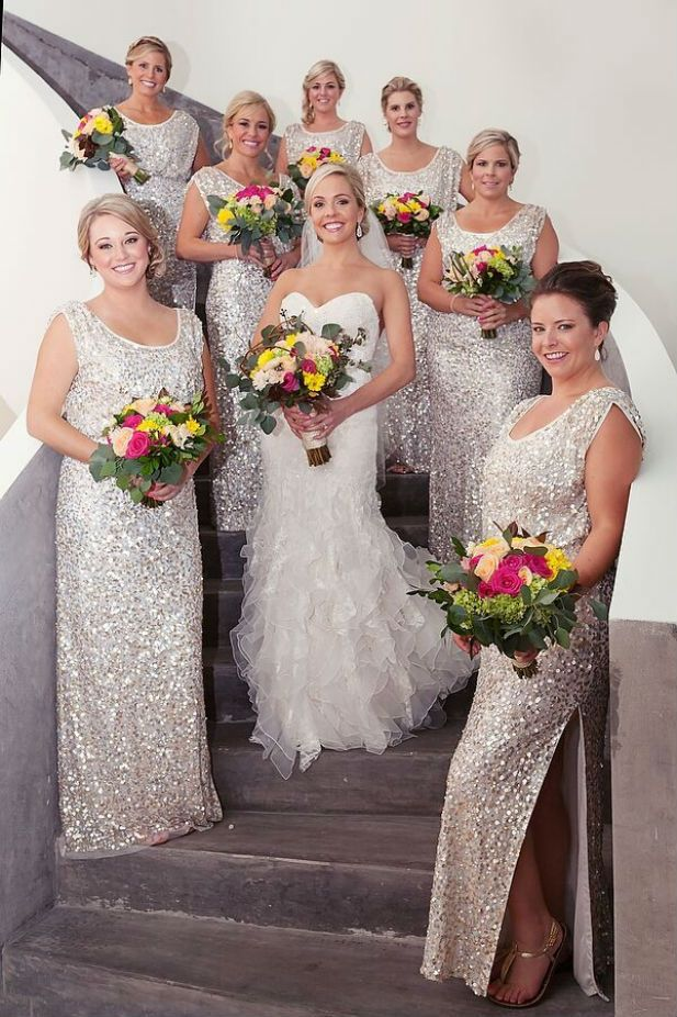 Long silver sequin bridesmaid dresses by JS Collections | Modern Mexico destination wedding at Finest Playa Mujeres (Quetzal Photo)