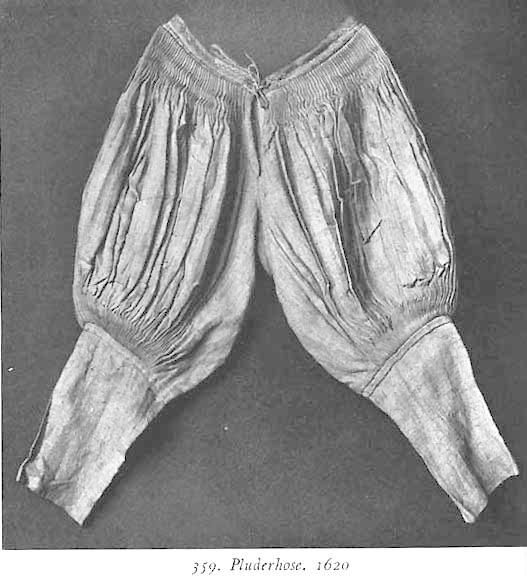 Venetian breeches  These are Venetian breeches that were worn by men during the Northern Renaissance. They are knee length.
