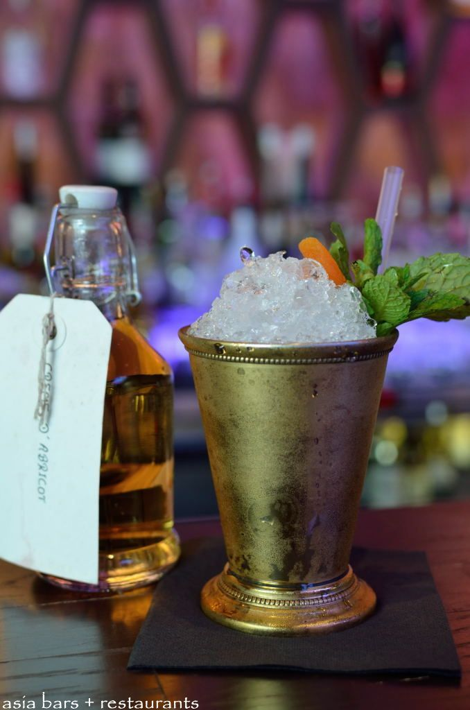 ", clove-infused apricot brandy, mint & sugar syrup. ""House Cocktail ..."