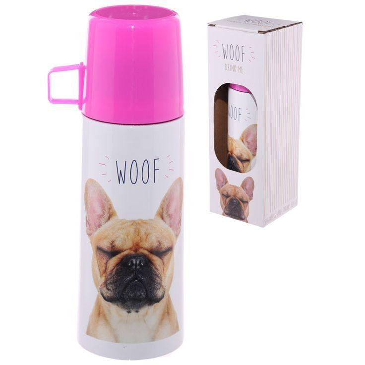 Funky 350ml Flask - Bulldog WOOF