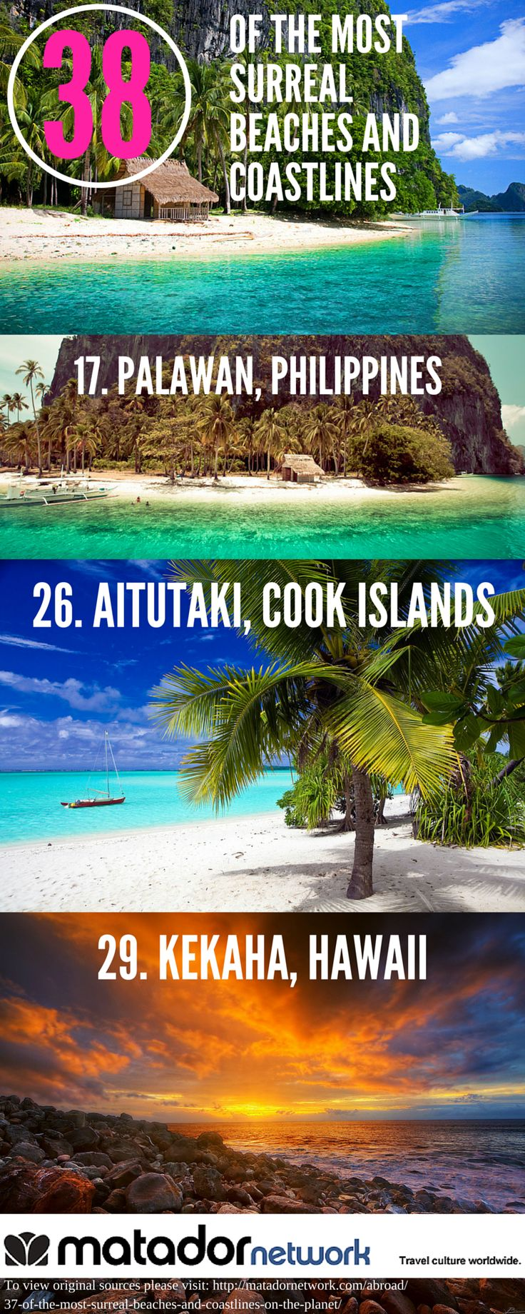 Love going to the beach? Here are 38 of the most surreal beaches and coastlines in the world, ranging from Aiututaki, Cook Islands to Kekaha, Hawaii to Corfu Island in Greece. Discover your world at MatadorNetwork.com