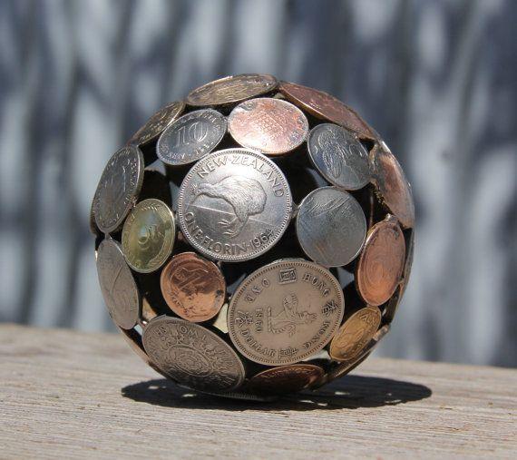 Mini mixed world coin ball Coin sphere Metal sculpture by Moerkey, $55.00