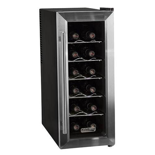 Koldfront 12 Bottle Stainless Steel Slim-Fit Thermoelectric Wine Cooler. Efficient thermoelectric cooling with an adjustable thermostat and interior led light.