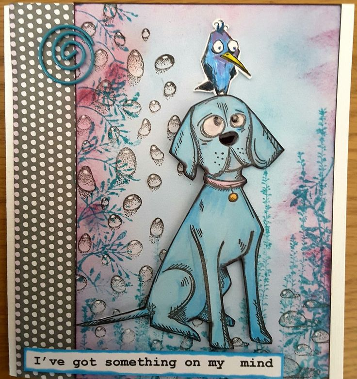 Hi everyone   Here I would like to show you another card which uses both the bird and dog crazy stamps from Tim Holtz  by Stampers Anonymous...