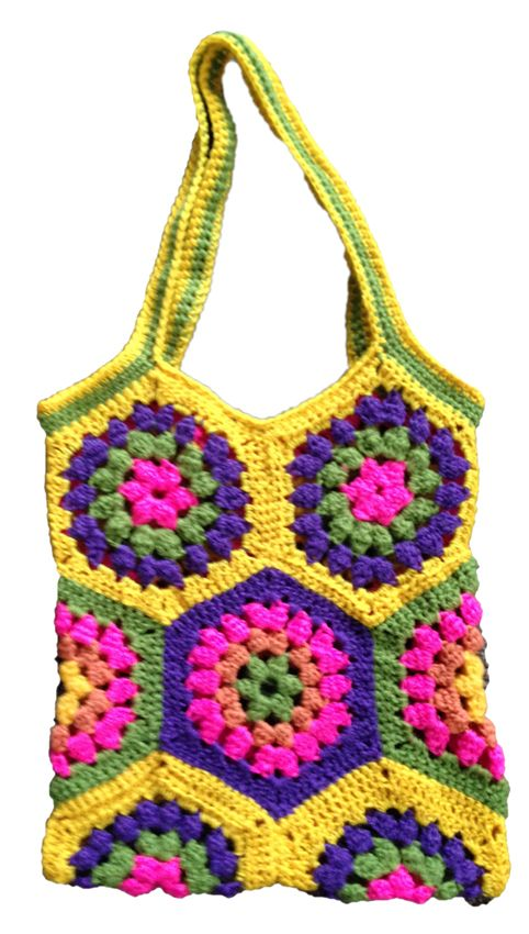 Multi coloured crochet tote