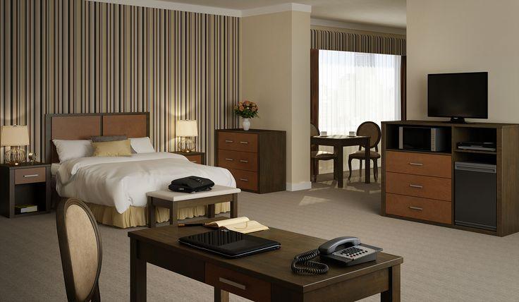 Standard hotel room design 3D.