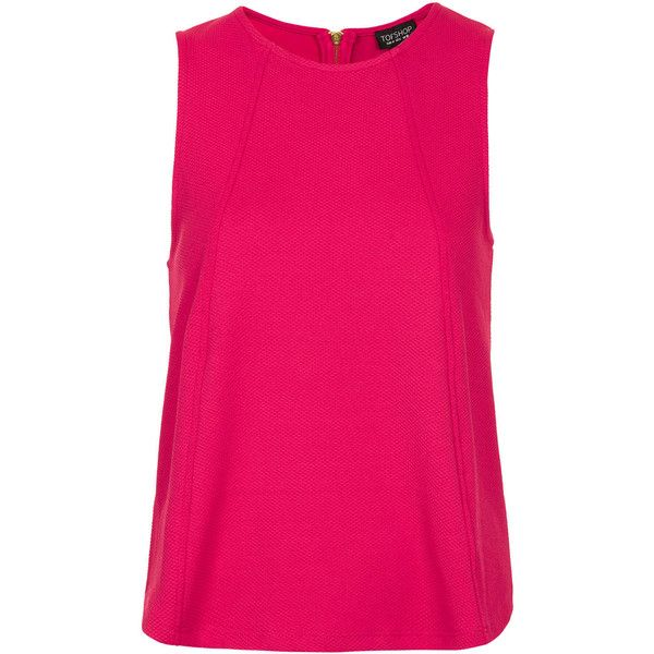 TOPSHOP Zip Shell Top ($6.69) ❤ liked on Polyvore featuring tops, tank tops, shirts, blusas, topshop, pink, pink tank top, pink shell top, zip tank and shell tops
