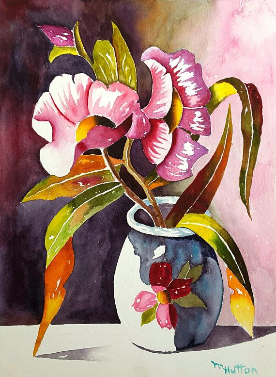 original watercolor painting flower bouquet and vase still - Kopfteil Plant Holzbearbeitung