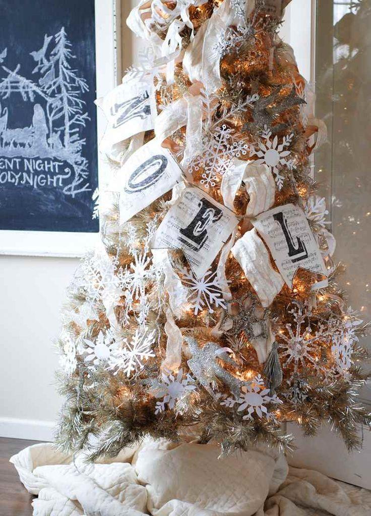 arbol de navidad decoracion lazo oro blanco ideas