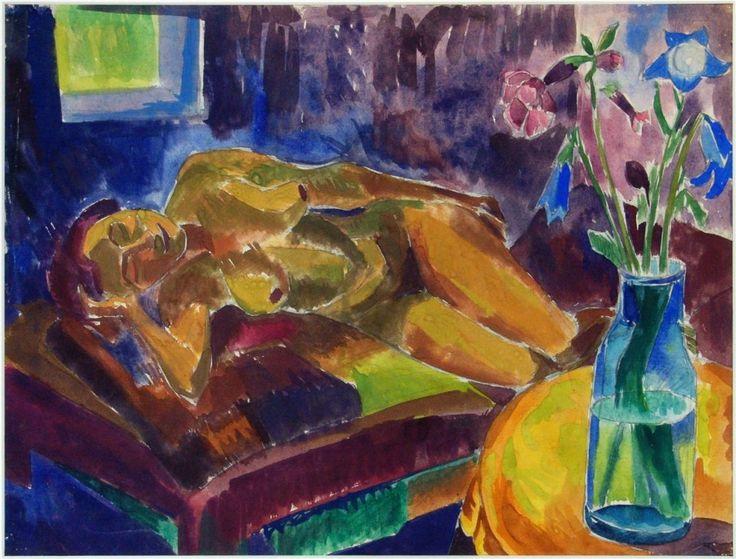 Liegender weiblicher Akt auf Sofa (Female Nude Reclining on Sofa) by Fritz Schäffler on Curiator – http://crtr.co/2ajo