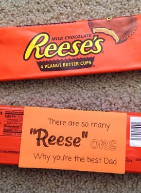 """Reese's Peanut Butter Cup Pun   """"Reese"""" Ons   Valentine's Day   Candy Gram   Candy Bar Puns   DIY Boyfriend Gifts   DIY"""