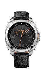 Hugo Boss Orange 1513095 45mm Stainless Steel Case Black Calfskin Mineral Men's Watch
