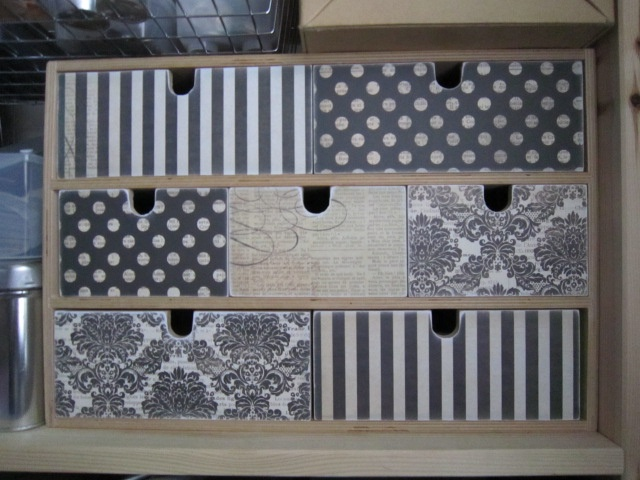Ikea MOPPE (FIRA, MACKIS) mini chest of drawers: covered with scrapbooking paper