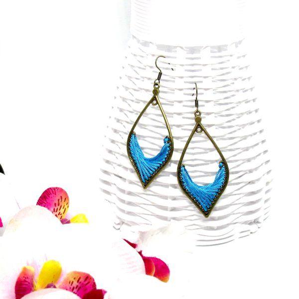 Csepp formájú fonal fülbevaló – kék