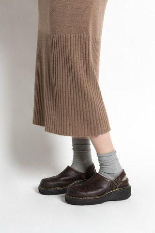 Vintage 90s Brown Leather Dr Martens Chunky Clogs | VAUXSHOP.COM