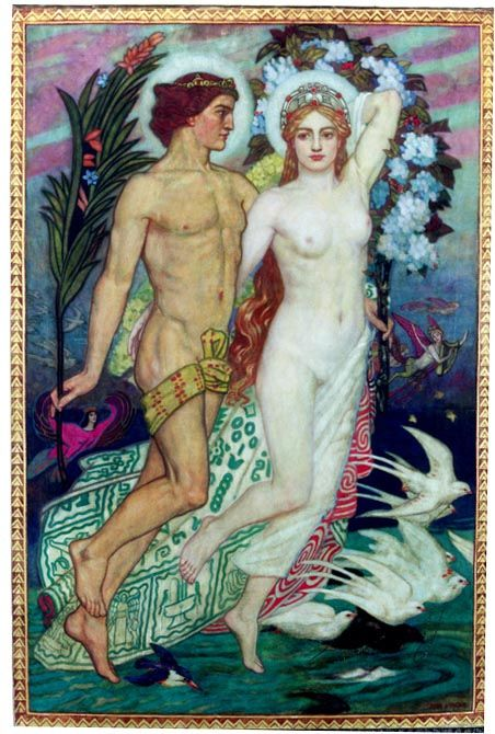 """John Duncan (1866-1945) """"Fand and Manannan"""" - Celtic myth Fand is a faery queen, who was once married to the sea god Manannan"""