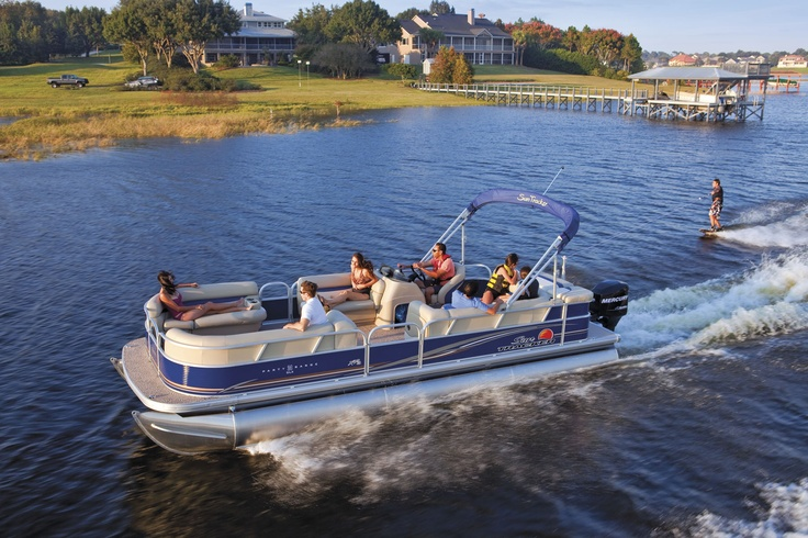 The latest in pontoon design.  This SunTracker 24DLX-XP3 has 3 pontoon logs with special strakes to get the boat up on plane quicker and go faster!  With the standard 150hp Mercury Marine engine, you can easily pull a skier.  It can carry 14 passengers.  We say that's a party waiting to happen!