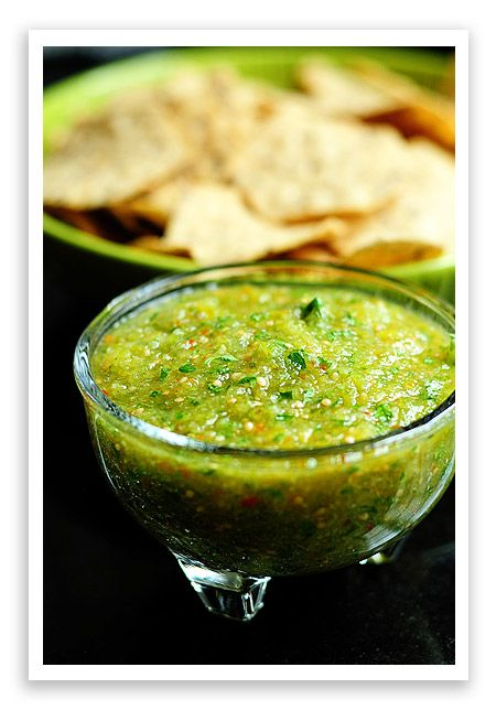 Tomatillo Salsa. My very fav salsa. This is really close how I prepare it. You can also boil the tomatillos and jalapenos too. Just be careful that the tomatillo dont overcook or they will explode in the water. You can also add chopped avocado and or green onions too. Delicious.