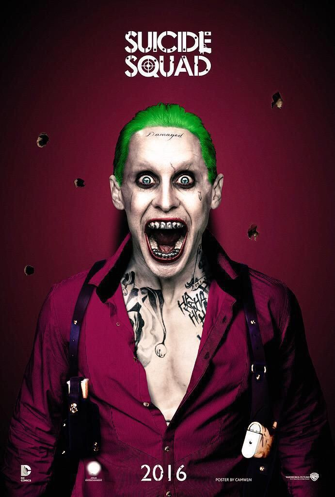 Fan-made 'SUICIDE SQUAD' poster featuring Jared Leto's Joker by artist CAMW1N.