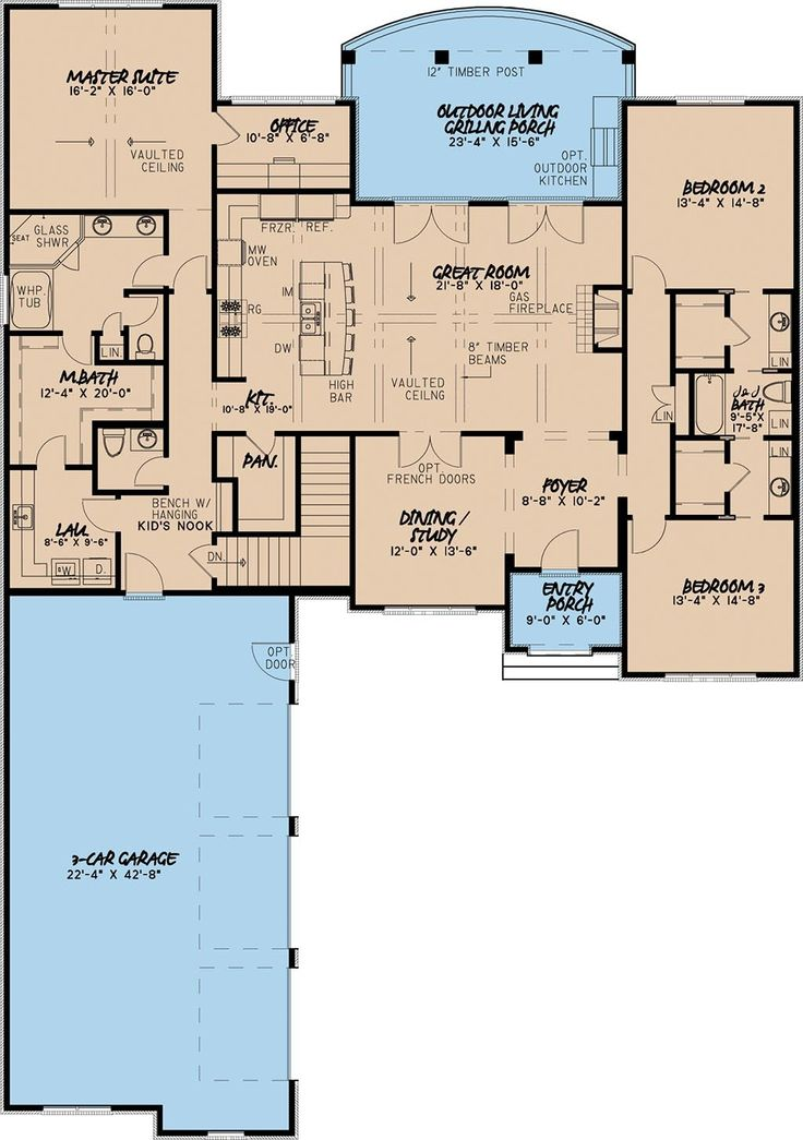 European Style House Plan - 4 Beds 3.5 Baths 4035 Sq/Ft Plan #923-3 Floor Plan - Main Floor Plan - Houseplans.com