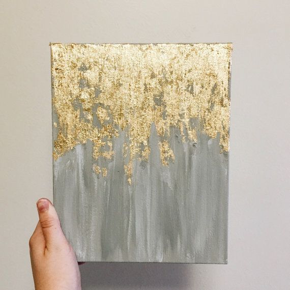 Gold leaf painting, abstract gold leaf painting, 8x10 wall art, heavy duty canvas painting