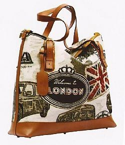 Handbag Greek made in canvas cloth Hakkari in combination with cowhide leather.