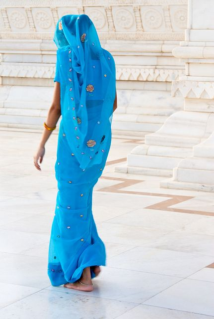 woman in blue, india
