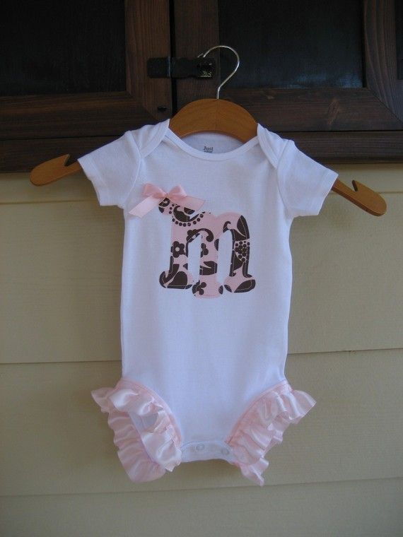 Onesie with Initial and Pink Leg Ruffles  long by theuptownbaby, $16.50