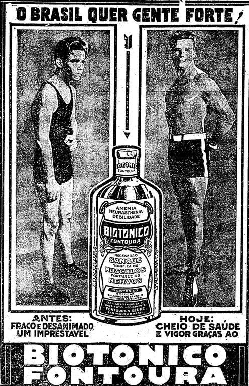 Propaganda do Biotônico Fontoura em 1931 onde comparam a saúde de dois jovens.