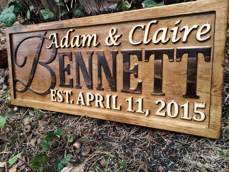 Personalized Wedding Gift Family Name Signs Carved Custom Wooden Sign Last Name Established Anniversary Custom Personalized Sign Couple Gift by 3Dwoodworker on Etsy https://www.etsy.com/listing/231500448/personalized-wedding-gift-family-name
