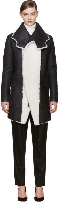 Anthony Vaccarello Black Shearling Irregular Collar Coat