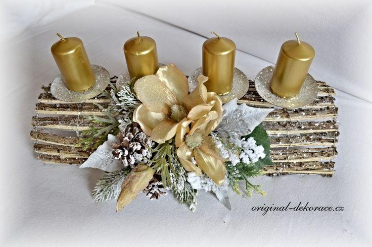 Vánoční (adventní) svícen, proutí, tunel - zlaté magnolie
