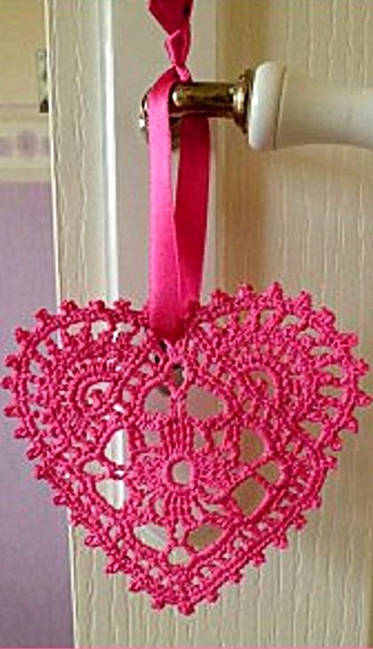 Crocheted Hearts - diagram pattern included