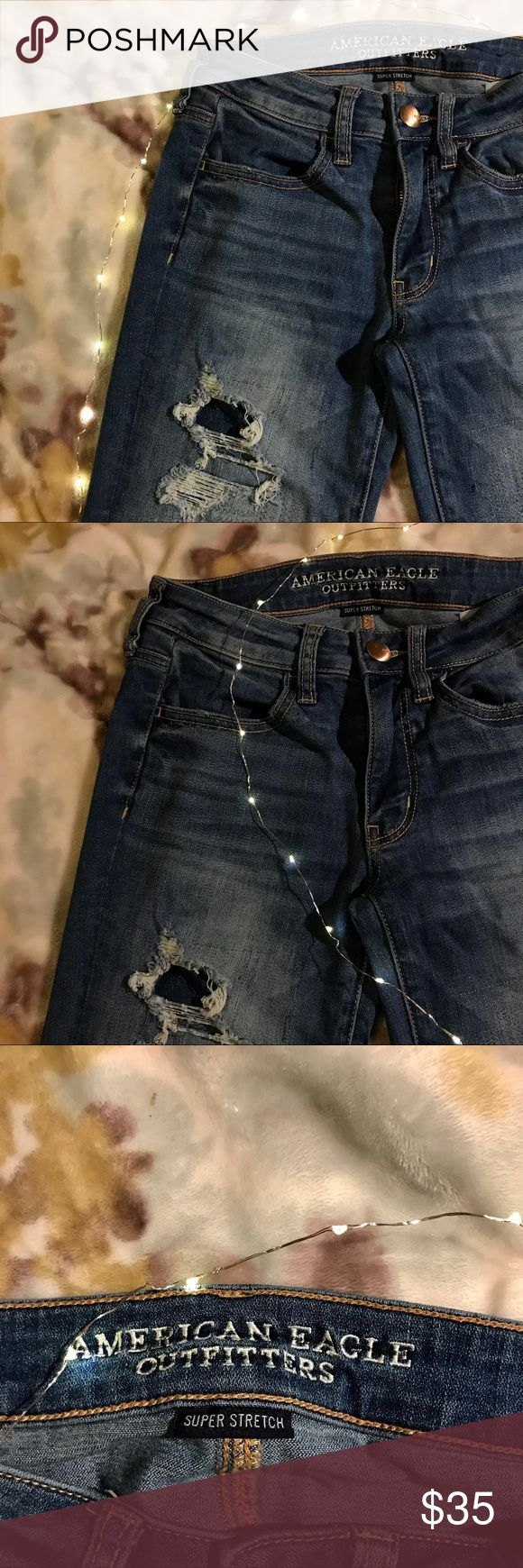 AEO Distressed Super Stretch Jeans AEO Super Stretch skinnies size 2. Excellent condition! American Eagle Outfitters Jeans Skinny