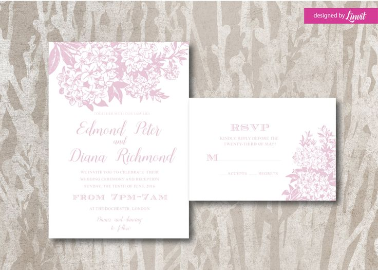 Floral wedding invitation-Lilac wedding invitation-Digital wedding invitation-Printable wedding invitation set-Custom wedding invitation by Linvit on Etsy