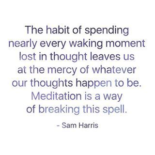 The habit of spending nearly every waking moment lost in thought leaves us at the mercy of whatever our thoughts happen to be. Meditation is a way of breaking this spell. ~ Sam Harris  . . . . . #samharris #samharrisquotes #quoteoftheday #qotd #purplequotes #purple #instagood #quote #quotes #meditationquotes #meditation #meditationpractice #dailymeditation #dailypractice #spiritualpractice #yoga #yogi #yogini #mindfulness #dailymindfulness #mindfulnesspractice #thoughts #trainyourmind…