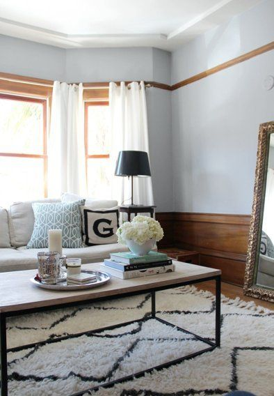 Erin & Rob's Stylish & Glam Family Pad — House Tour | Apartment Therapy   White curtains and rug to lighten space.