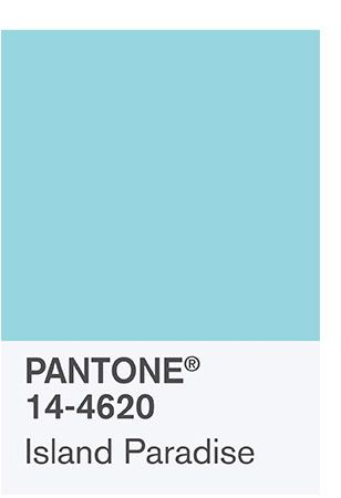 the spring 2017 Color Palette:  PANTONE 14-4620 Island Paradise Island Paradise is a refreshing aqua that calls to mind a change of scenery. A cool blue green shade that speaks to our dream of the great escape, Island Paradise is emblematic of tropical settings and our desire to unwind.