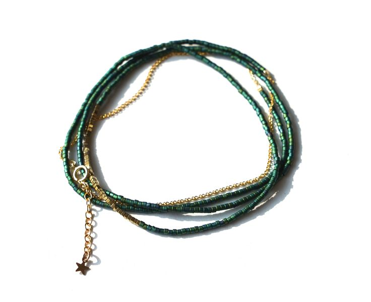 Miyuki bead long necklace / 5Xwrap with pyrite beads and 18K gold plated chain.